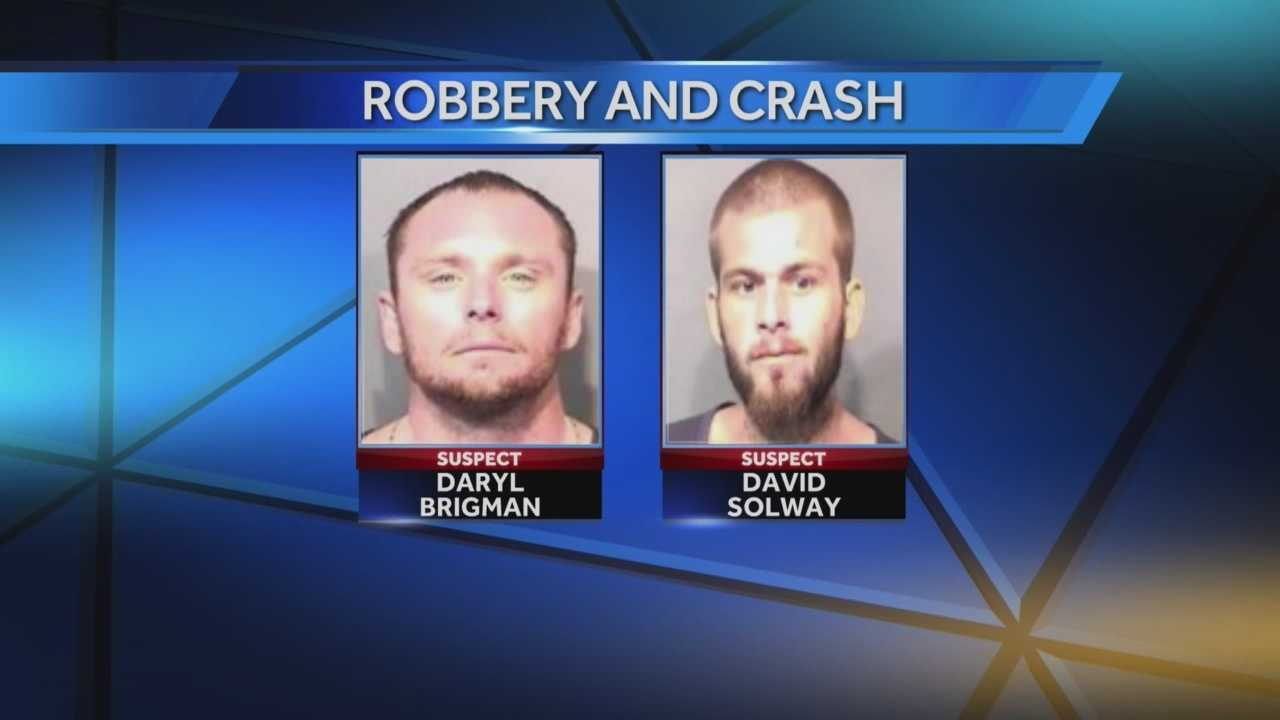 Brevard County deputies say Daryl Brigman and David Solway tried to rob a man and a woman Sunday morning near Cocoa. Deputies say they beat the man, and their gun went off during the struggle.