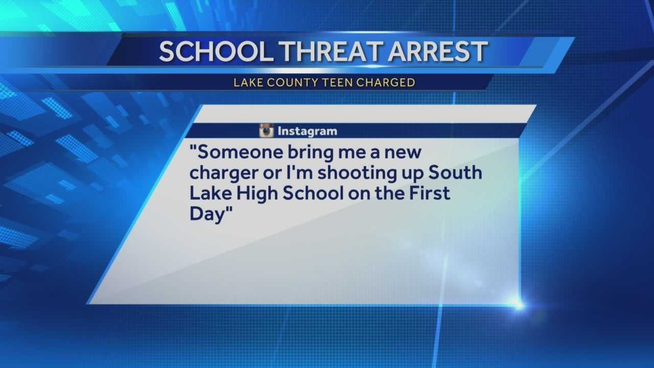 A 14-year-old in Lake County is facing felony charges for posting a threat to shoot students at two different high schools.