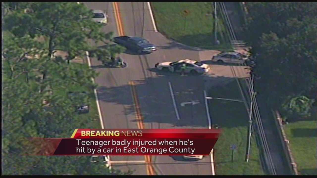 A teenager in East Orange County was badly hurt after being hit by a car next to Liberty Middle School.