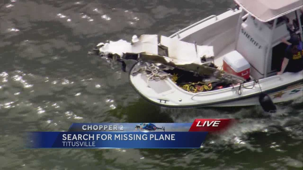 Crews searching for a plane that failed to land at Space Coast Regional Airport during storms Wednesday have apparently retrieved debris from the Indian River. But officials haven't confirmed whether it belongs to the missing plane.