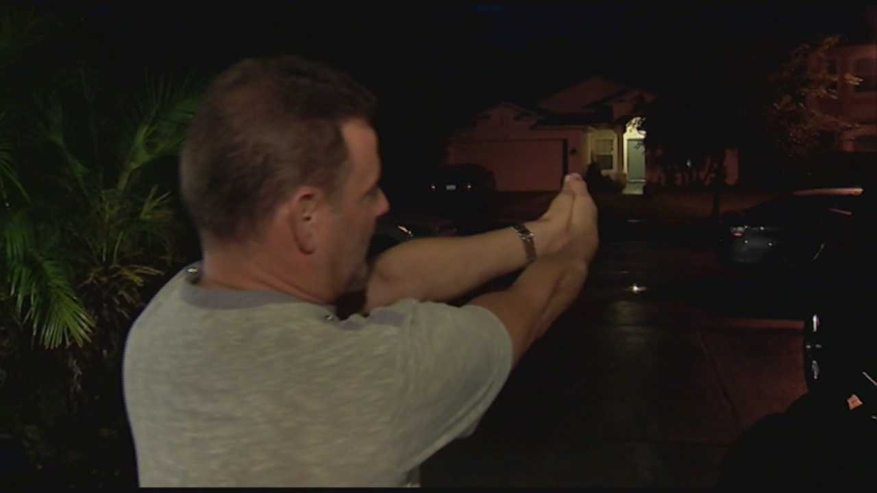 The victim of an attempted armed robbery in the driveway of his home says he pulled out a gun of his own.