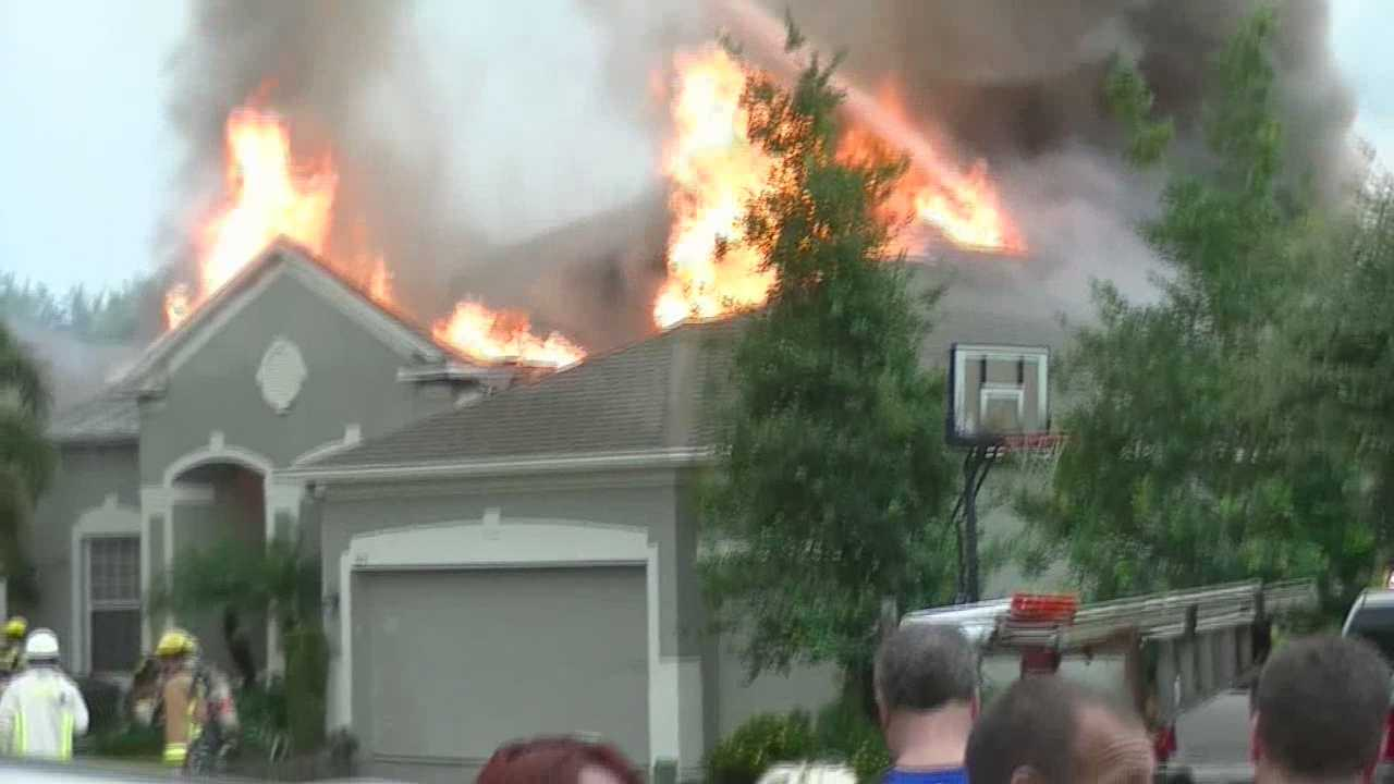 An Orange County home went up in flames Friday. Fire officials believe a lightning strike caused fire to rip through the roof of a home in Winter Garden. Adrian Whitsett (@AdrianWhitsett) has the story.