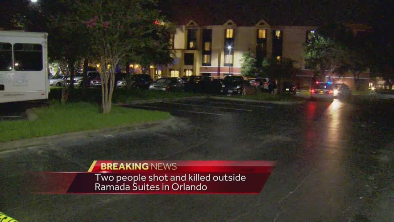 Two people were found shot to death at the Ramada Suites near Orlando International Airport, according to the Orlando Fire Department.  Adrian Whitsett (@AdrianWhitsett) has the story.