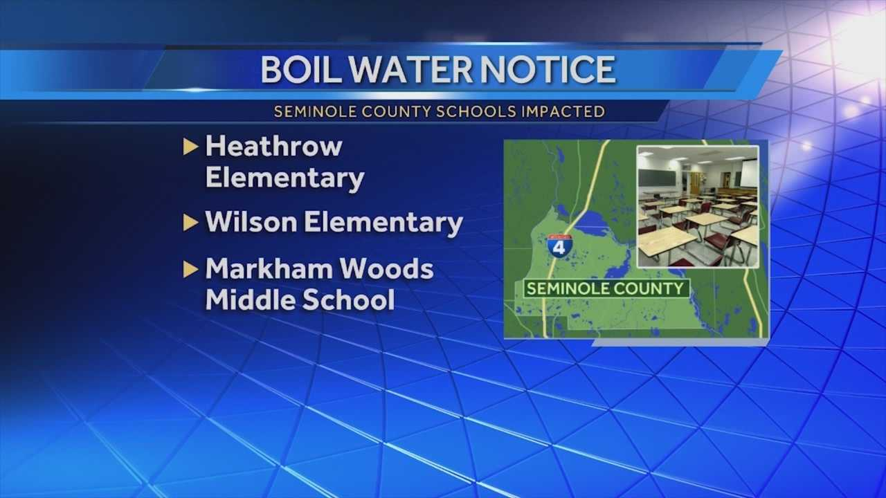 A precautionary boil water alert is still in effect for much of the northwest area of Seminole County. Three schools are also affected, officials said. Michelle Meredith (@MichelleWESH) has the story.
