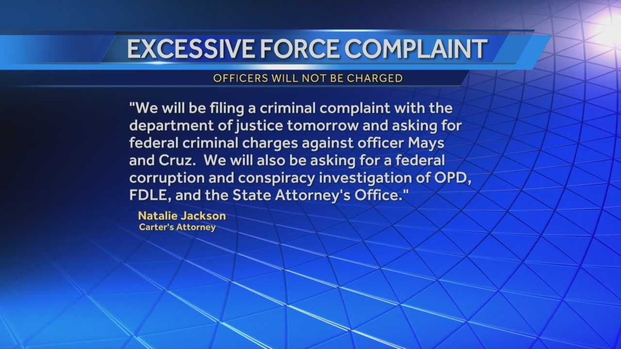 Noel Carter's lawyer, Natalie Jackson, plans to pursue federal criminal charges against the two Orlando police officers seen on tape kicking and using a Taser to shock Carter. Adrian Whitsett has the story.