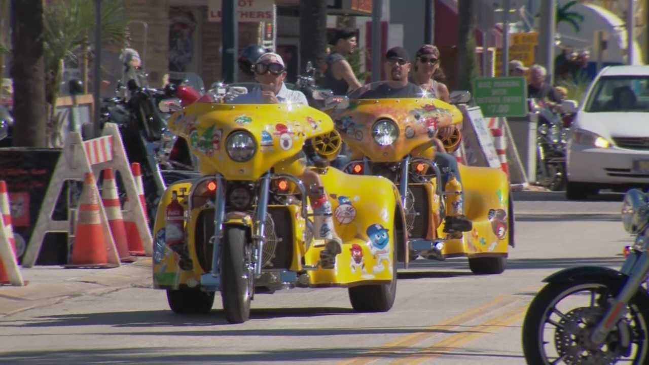 Volusia County's population is growing by more than 100,000 Thursday as visitors roar into town for the 23rd annual Biketoberfest celebration in Daytona Beach. Claire Metz (@ClaireMetzWESH) has the story.