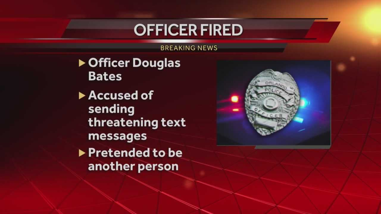 Orlando police officer Douglas Bates was fired from the Orlando Police Department effective Monday, Oct. 19 at 5 p.m., WESH 2 News has learned. Bates was fired because of text messages he allegedly sent, officials said. Summer Knowles has the story.