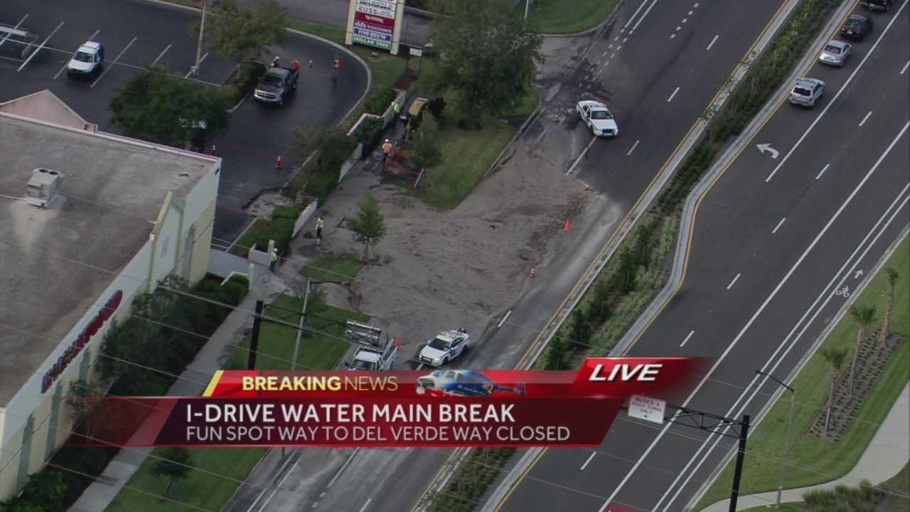 Crews are working to repair a water main break on I-Drive southbound in Orlando, officials said.