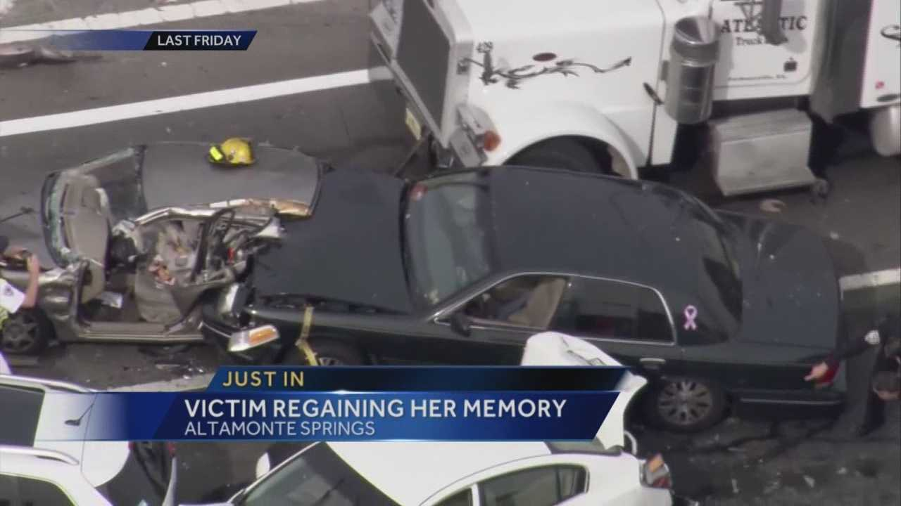 Altamonte Springs police said the woman who lost her husband and child in a horrible accident and couldn't remember anything, is now regaining her memory. The crash happened Oct. 16 at S.R. 434 and S.R. 436.