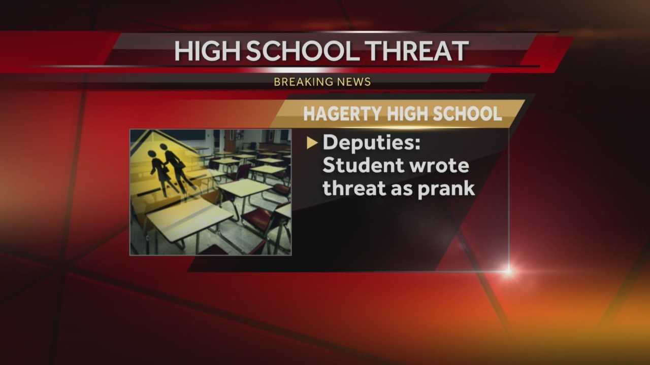 A high school student in Seminole County is being questioned for a threatening message written in a school bathroom. Adrian Whitsett has the story.