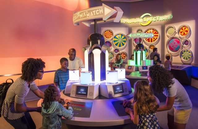 """In """"The Color Lab"""", guests can play Color Mix 'n Match, an interactive game that allows guests to mix red, green and blue to create bold new colors. A second interactive station, Spinning Spectrums, teaches guests about the persistence of vision through painted spinning discs. Here guests can try to guess what color their eyes will perceive once the multi-colored discs start to spin quickly."""
