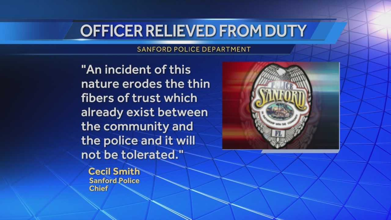 A police officer who joined a band on stage to introduce a song and sing a portion of it while on duty last week has been relieved of duty, the Sanford Police Department said.