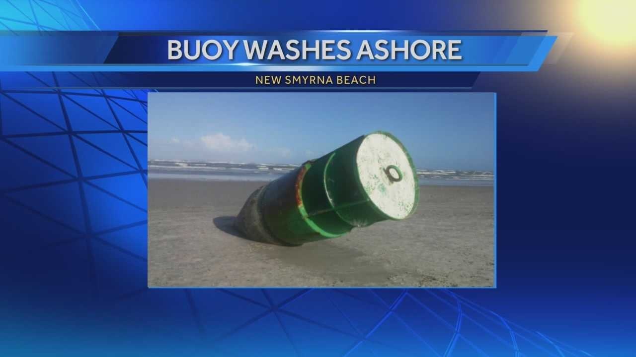 A buoy breaks free from the ocean floor, washing up on the coastline.