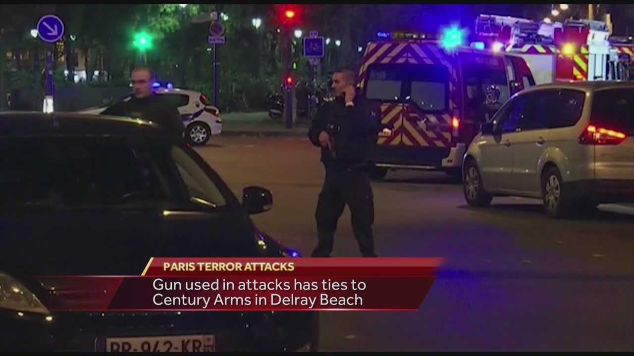 WESH 2 News has discovered a Florida connection to the recent terror attacks in Paris. The serial number from a semi-automatic M92 pistol used in those attacks is linked to an online gun dealer located in Florida. Adrian Whitsett reports.