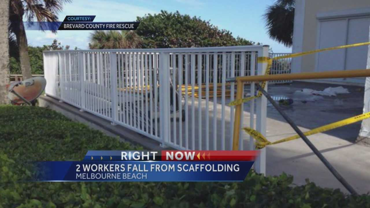Two workers were hospitalized after falling from the scaffolding on a four-story condo in Melbourne Beach, according to Brevard County Fire Rescue. Representatives of the Occupational Safety and Health Administration are investigating.