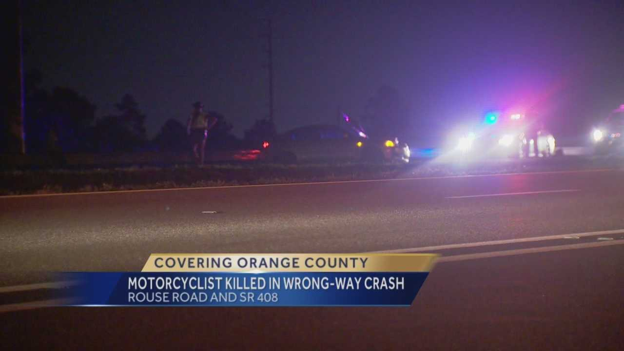 Troopers say they suspect a wrong-way driver who struck and killed a motorcyclist Wednesday night was impaired. Chris Tague, 28, was riding westbound between Dean Road and Alafaya Trail when a driver going eastbound hit his motorcycle head-on. Bob Kealing (@bobkealingwesh) reports.