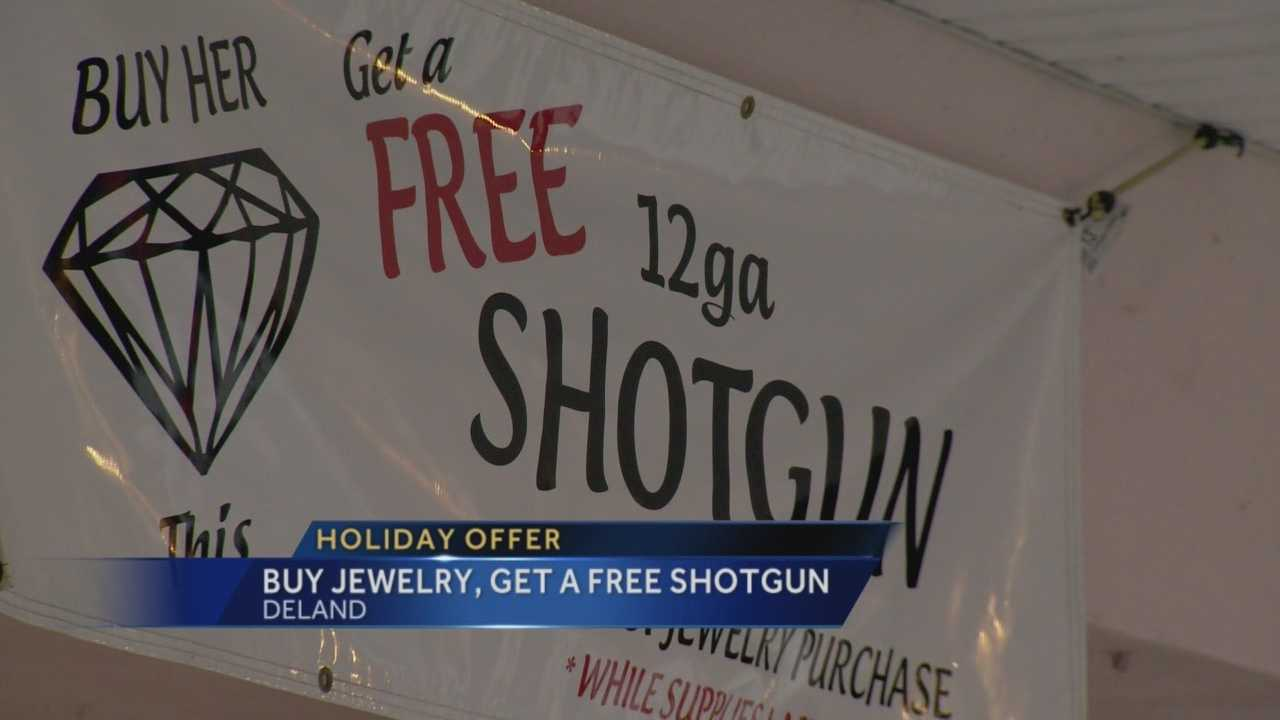 It's a controversial promotion raising eyebrows: 'Buy some jewelry, get a free shotgun.' That's how a DeLand jeweler is trying to drum up business for the holidays. WESH 2's Meredith McDonough has more information on the unusual offer.