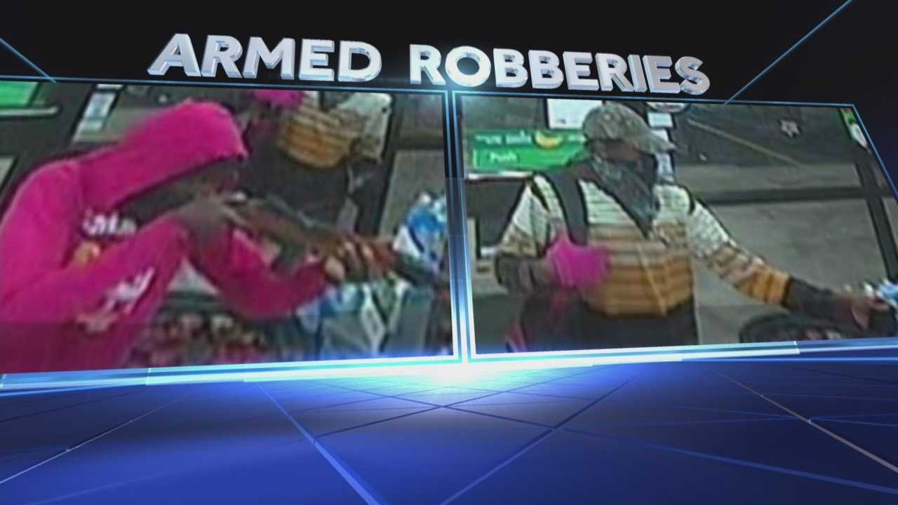 Surveillance images show a pair of armed bandits in South Brevard County. Photos show the two using a rifle to terrorize three businesses in the past 48 hours. Dan Billow (@DanBillowWESH) has the story.