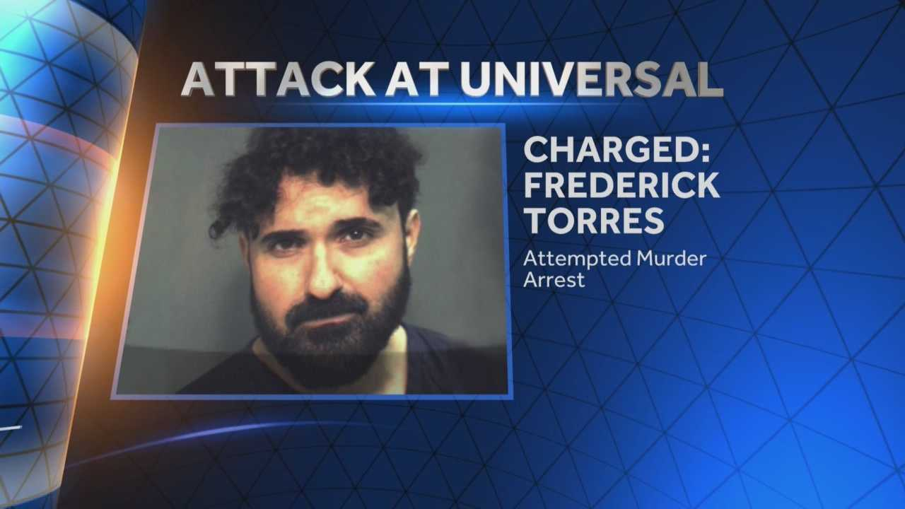 Authorities say a caricature artist at Universal Orlando Resort tried to kill a colleague by stabbing him in the neck with scissors on New Year's Day. Detectives said Monday that Frederick Torres was charged with attempted first-degree murder for his attack on Glenn Ferguson at the Islands of Adventure park. Michelle Meredith (@MichelleWESH) has the story.