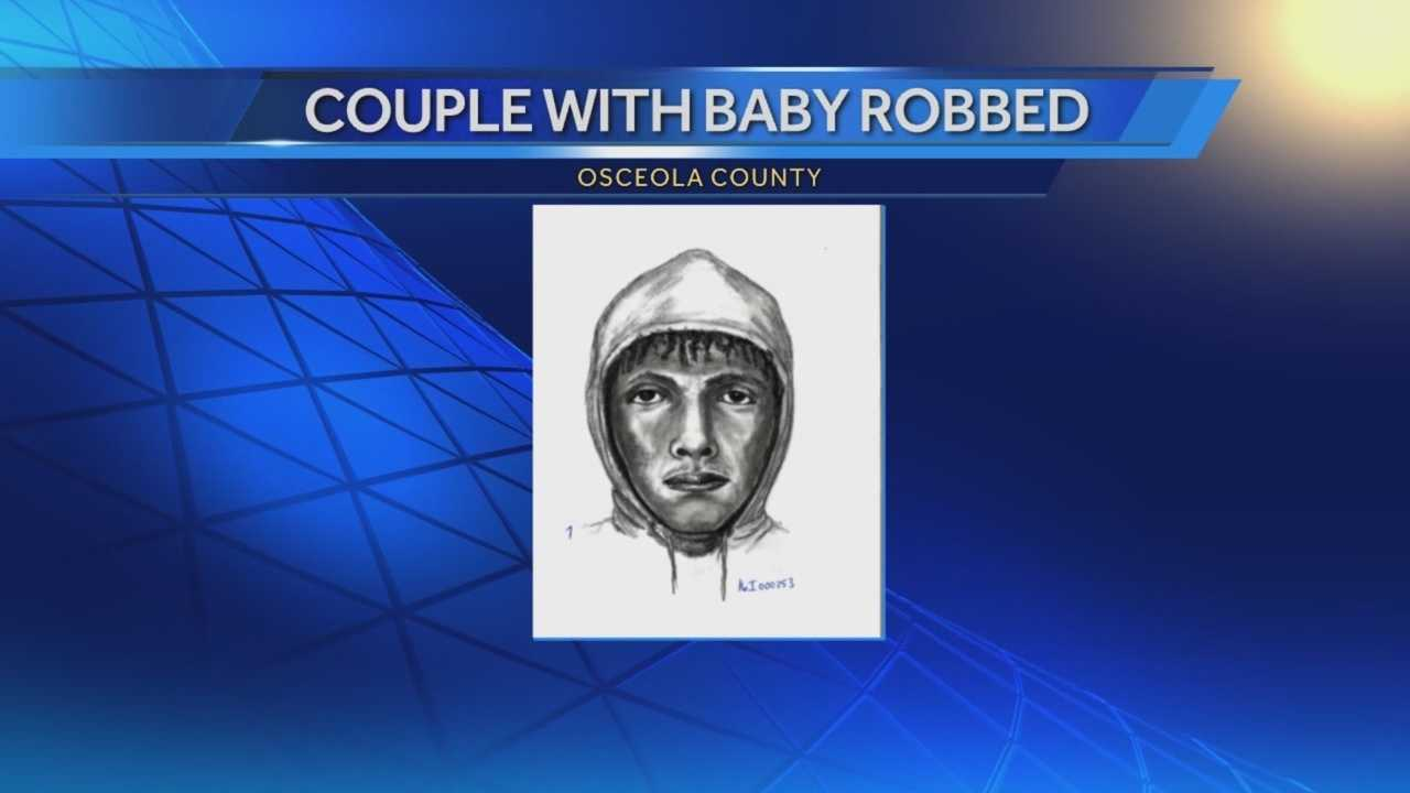 A man pointed a gun at an infant during a robbery as the child's parents watched in disbelief. Investigators released a composite sketch of the suspect. It happened on New Year's Day around 3 p.m. at a park near San Lorenzo and Darby Drive in Osceola County. Adrian Whitsett has the story.