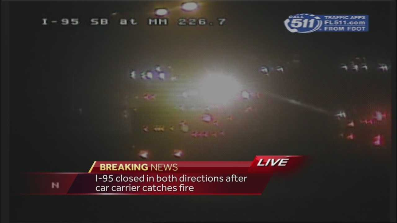 Several vehicles went up in flames on Interstate 95 in the Scottsmoor area of Brevard County on Thursday night. The interstate was closed in both directions. Four cars were burned, but no injuries were reported.