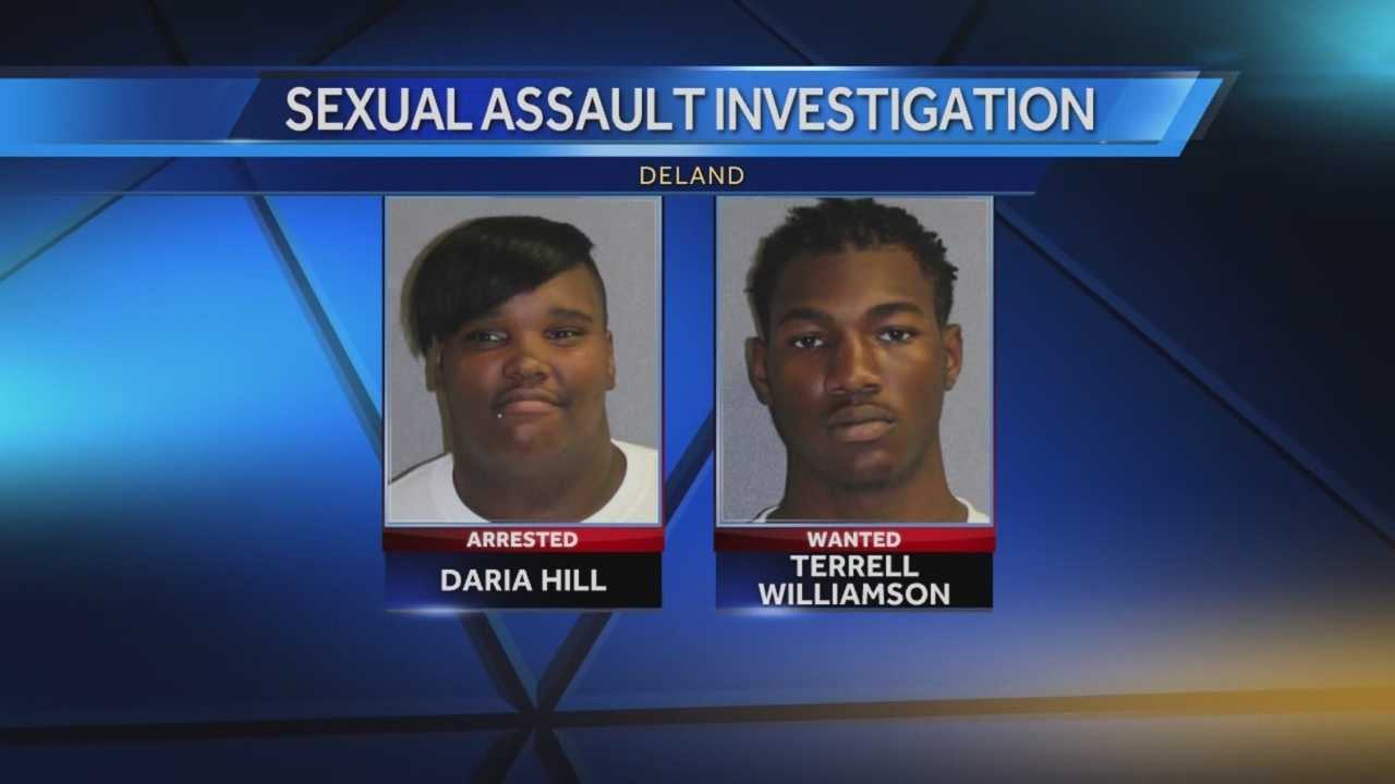 One person was arrested and one person is wanted by authorities in a case of sexual battery in DeLand, according to the Volusia County Sheriff's Office. Daria J. Hill, 18, of DeLand, was taken into custody. Deputies are searching for Terrell Williamson, 28, in the case. Chris Hush (@ChrisHushWESH) has the latest update.