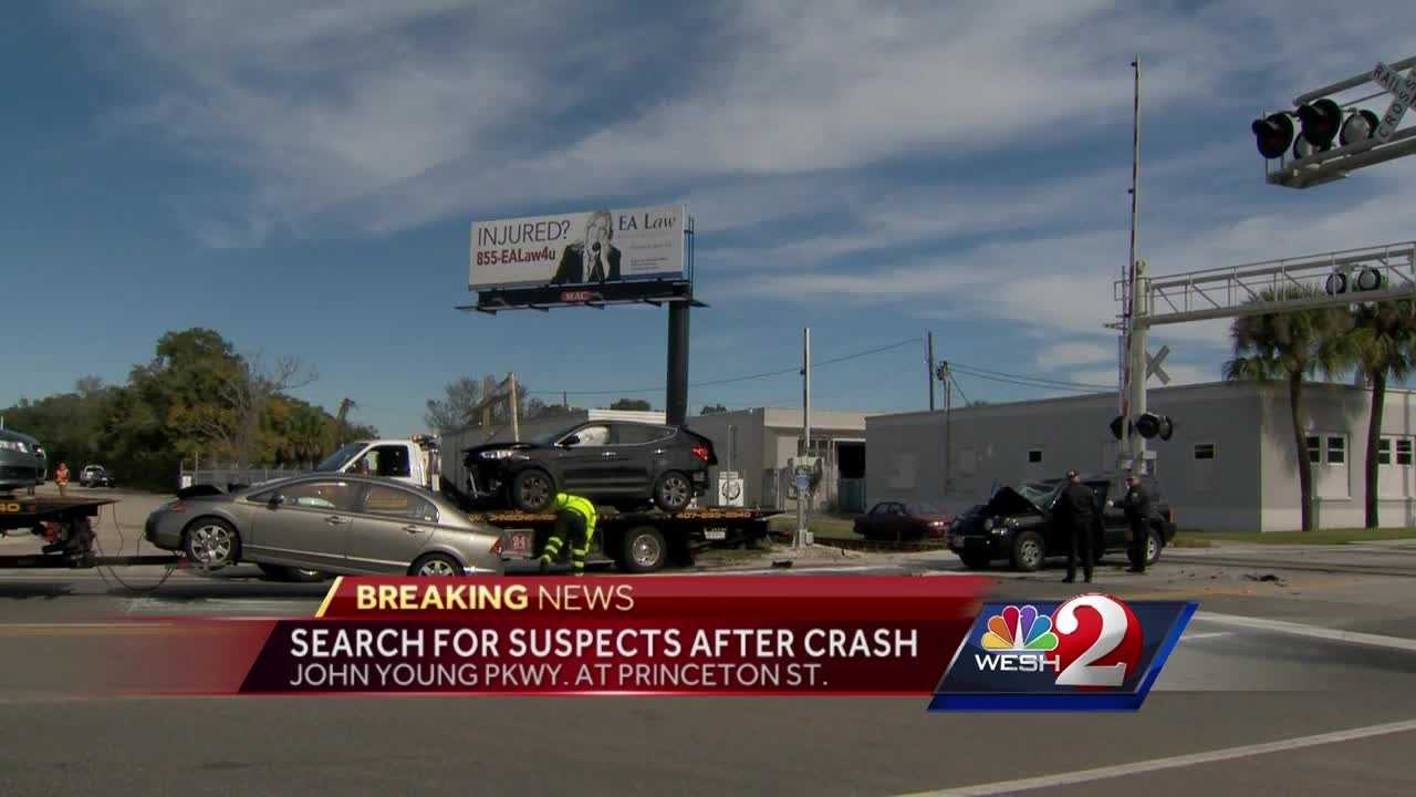 Police want to find the people responsible for crashing a stolen car and leaving the scene Tuesday morning.