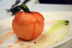 Urbain 40 Caprese is an heirloom tomato, mozzarella, red pepper gelee and basil pesto.