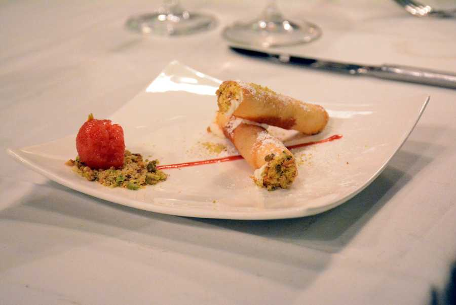 Lemon creme cannolis with pistachios and strawberry-rose sorbet.