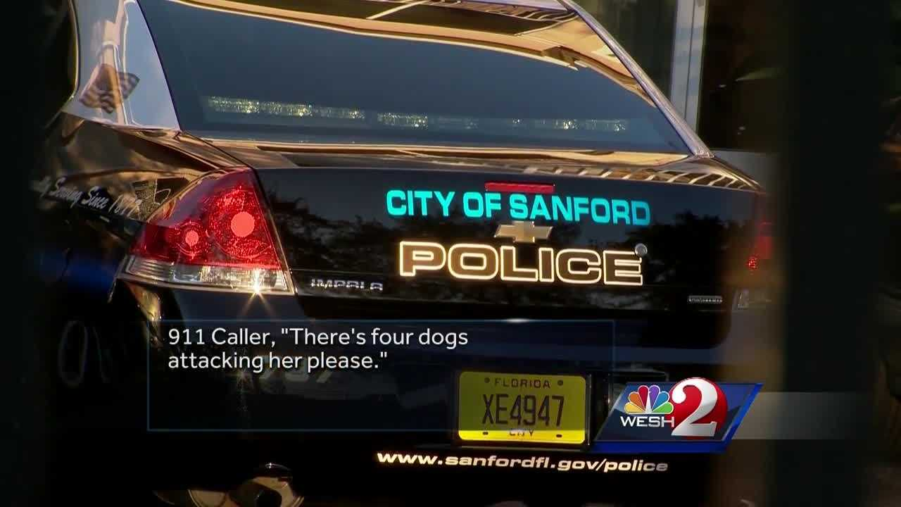 Sanford police released 911 calls after a dog attack that left a woman critically injured.