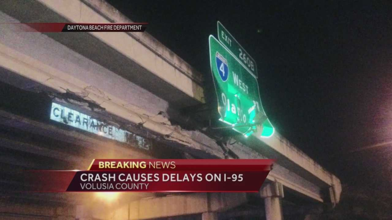 A crash has closed all lanes of traffic on I-95 northbound in Daytona Beach near exit 260, according to the Florida Department of Transportation. The road is expected to remain closed until 4 a.m. Friday. Matt Lupoli reports.