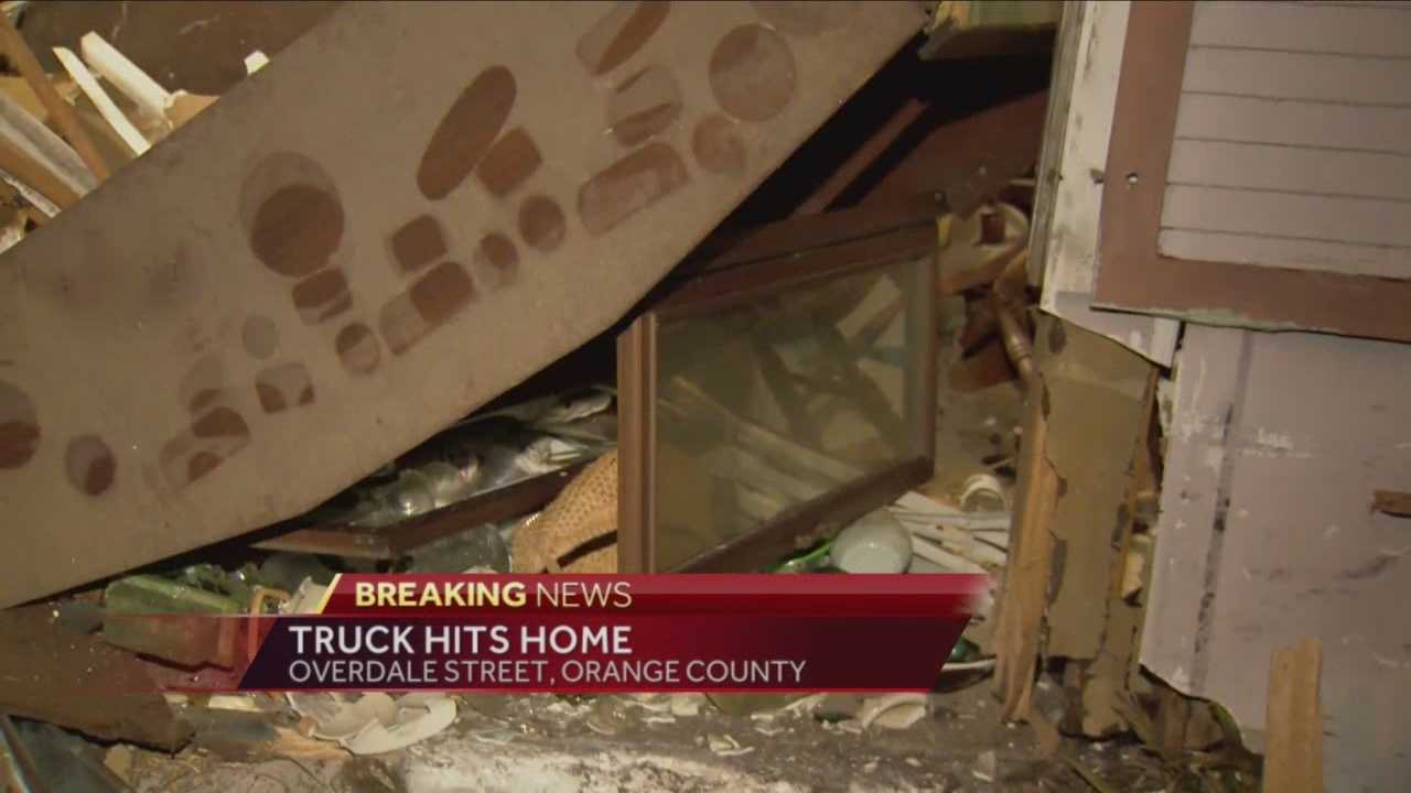 There's now a huge mess to clean up after a pickup slammed into a house overnight. It happened on Overdale Street, not far from the Colonial Drive exit off State Road 417, around 4 a.m.