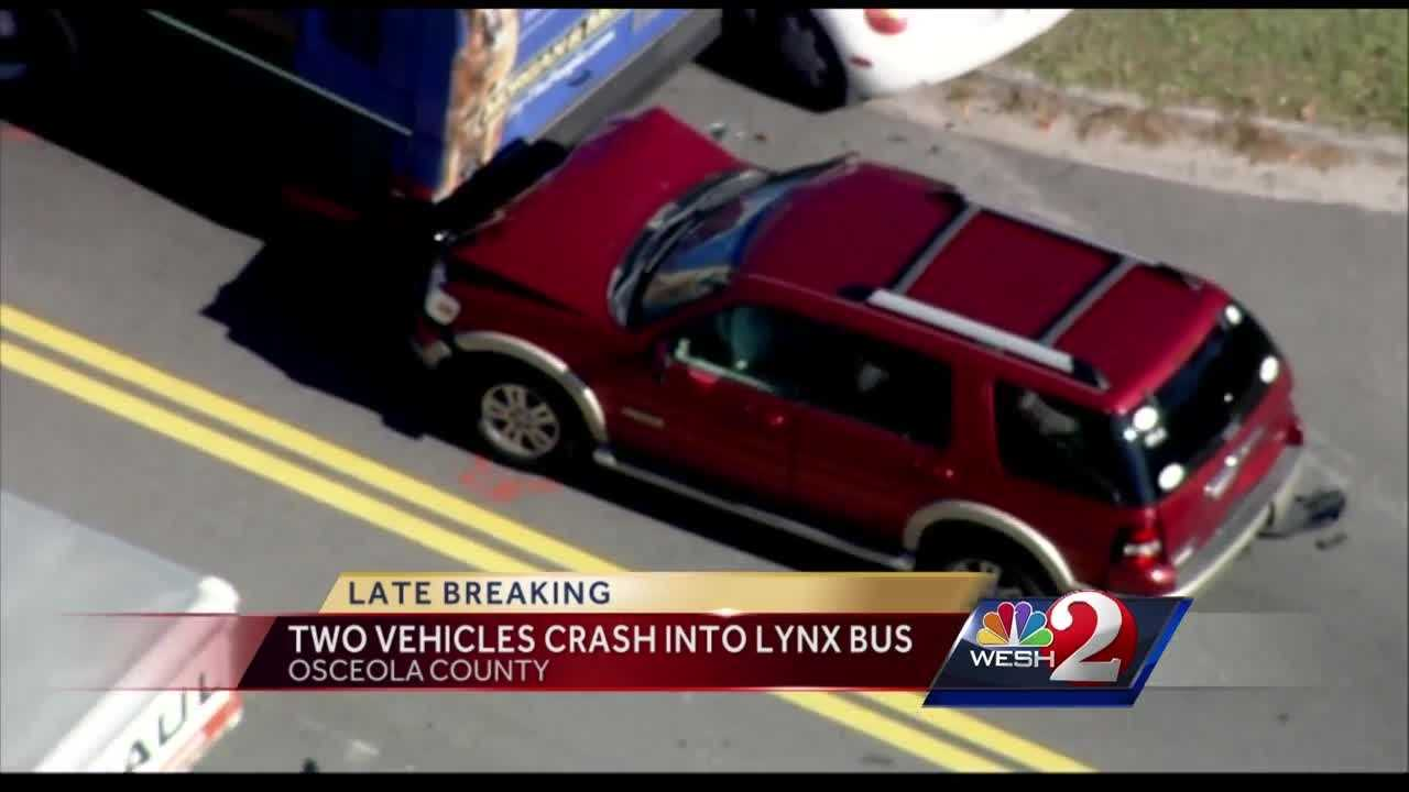 A Lynx bus stopped at a bus stop was rear-ended by two vehicles Monday afternoon. Summer Knowles has the latest update.