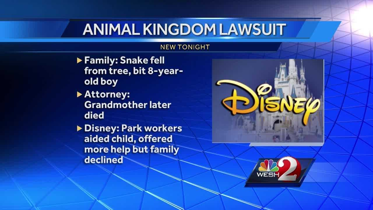 Disney is facing a lawsuit after a wild snake bit an 8-year-old child at Animal Kingdom. The family says the boy's grandmother witnessed the event, went into cardiac arrest and died.