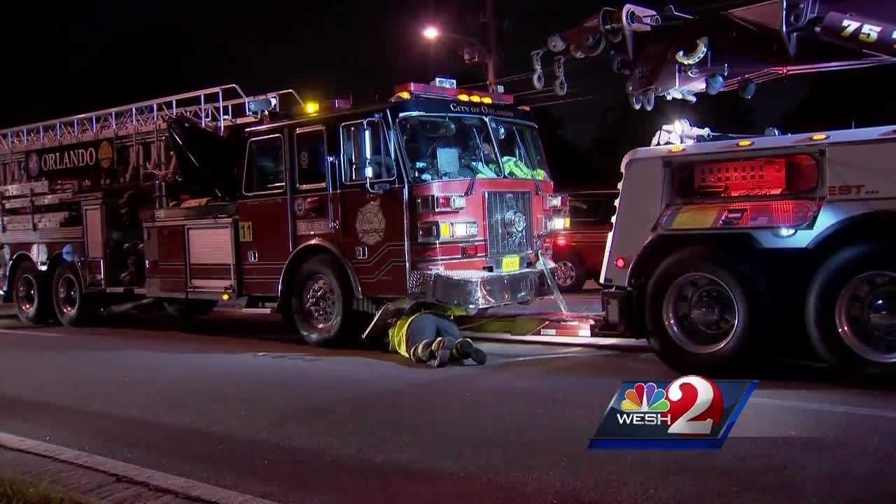 A fire truck heading to a call Thursday night crashed on Curry Ford Road during rush hour. Chris Hush (@ChrisHushWESH) spoke to those who were involved in the accident.