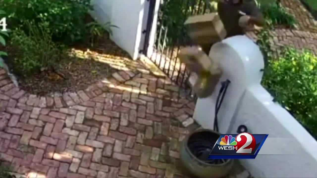 A UPS driver was caught on a home security camera carelessly tossing packages over a fence, causing the contents to spill.