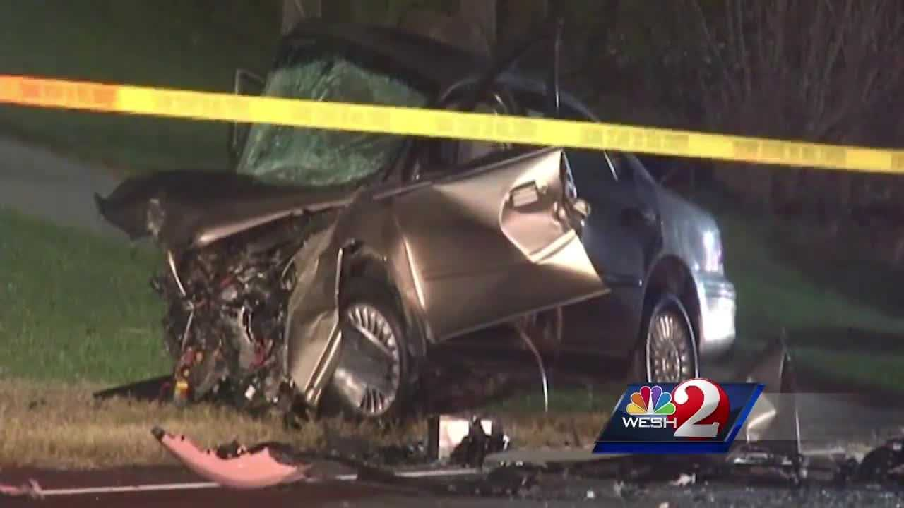 Two people from Palm Coast were killed when three cars slammed into each other in Flagler County Friday night.