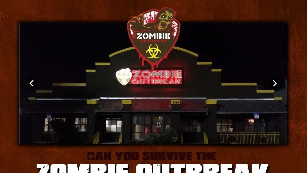 A screenshot from the Zombie Outbreak website shows the Orlando location on International Drive.