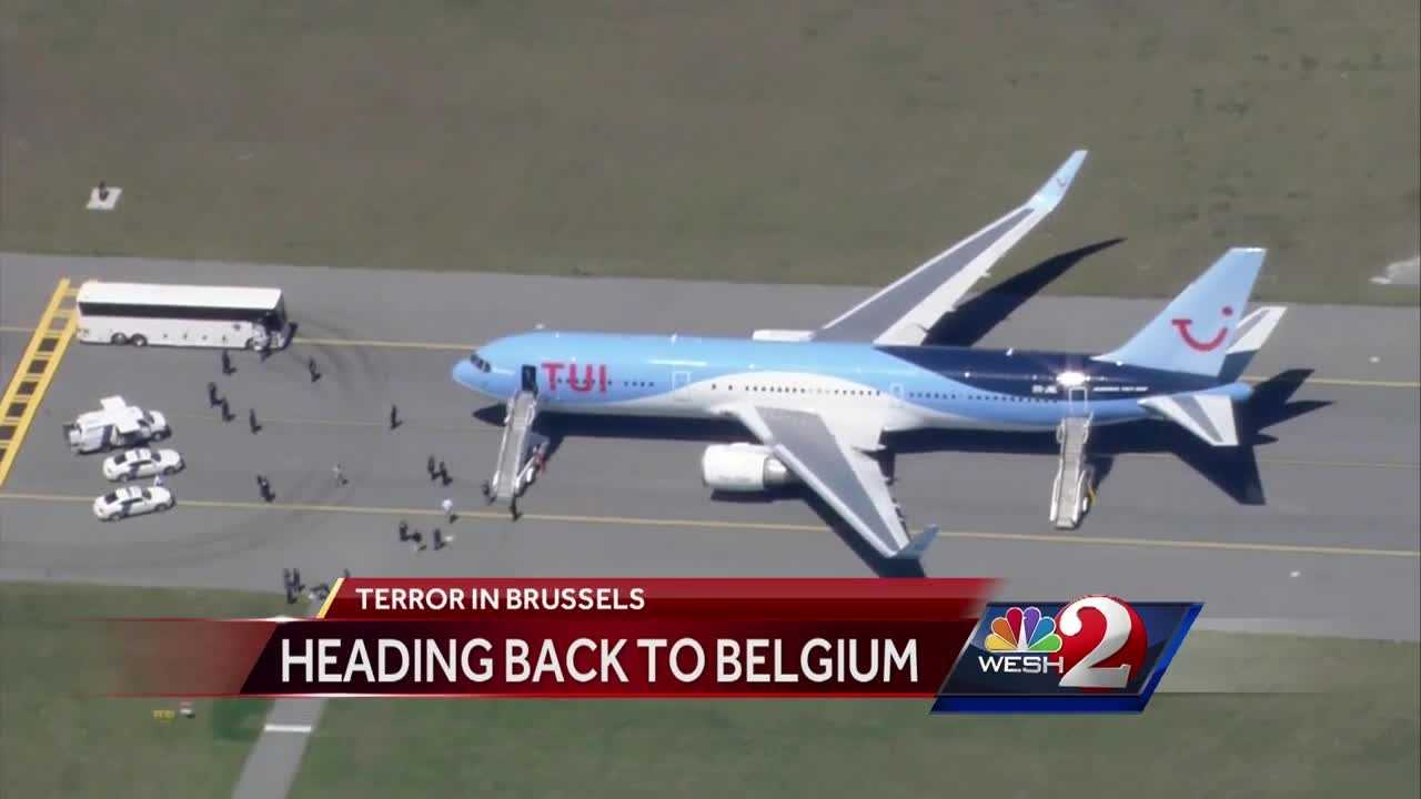 A plane that took off from Sanford is heading back to Belgium. It arrived in Central Florida Tuesday after leaving Brussels minutes before the first explosion. WESH 2 News is hearing from passengers on that plane who had no idea how lucky they were. Chris Hush reports.