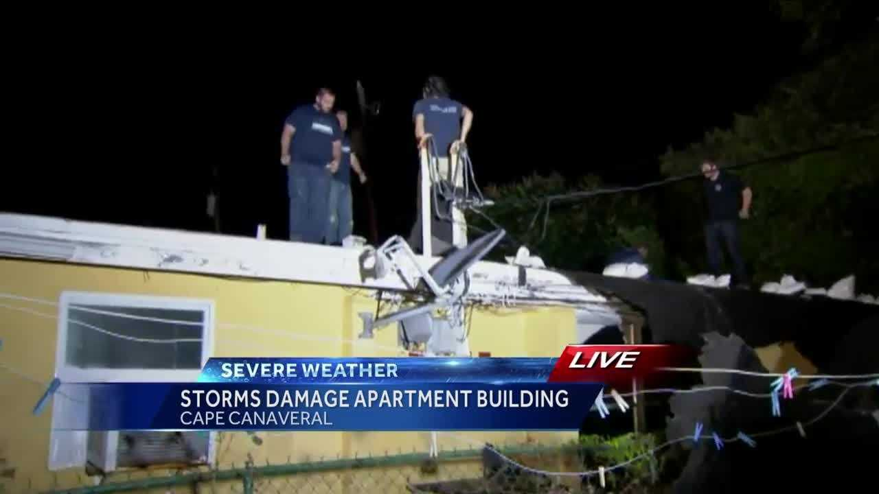 Winds gusting at more than 50 MPH were enough to lift up the shingles on a roof in Cape Canaveral. WESH 2's Chris Hush (@ChrisHushWESH) speaks to locals who say they are cleaning up the damage left behind.