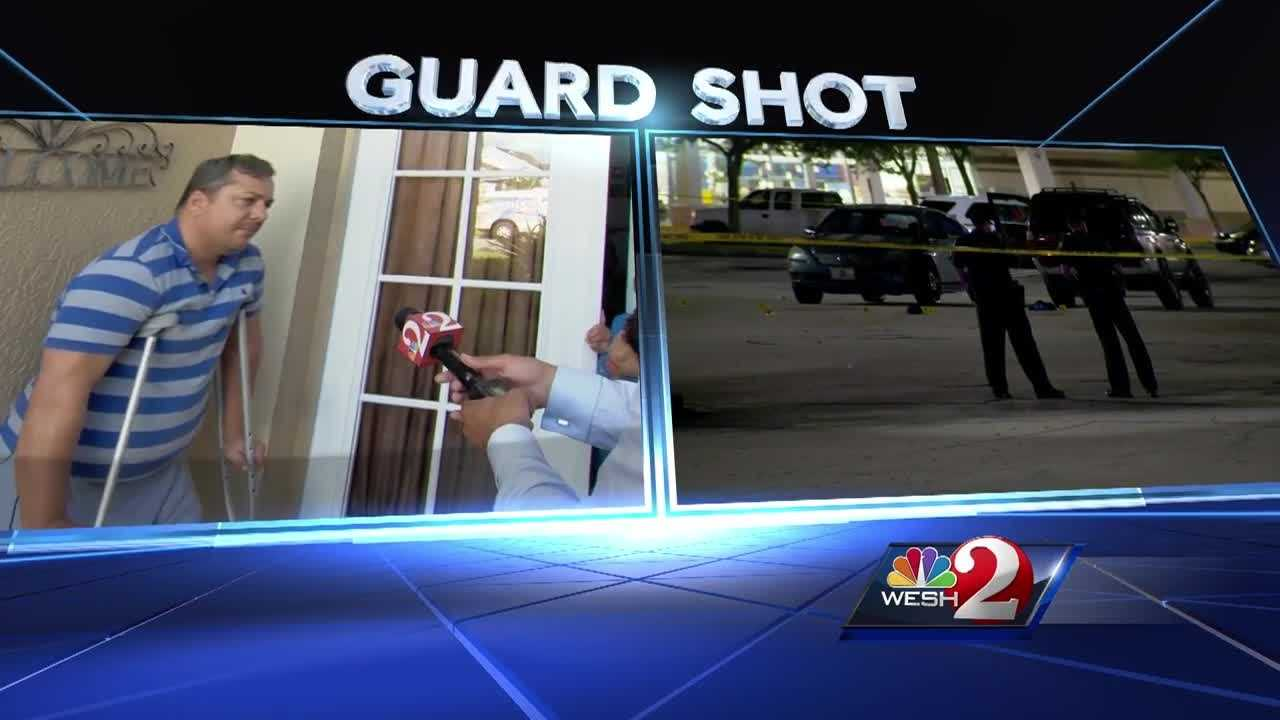 A local security guard, hired to keep watch over a shopping center, is trying to cope with being shot. The shooter fired 11 times. Chris Hush (@ChrisHushWESH) has the latest update.