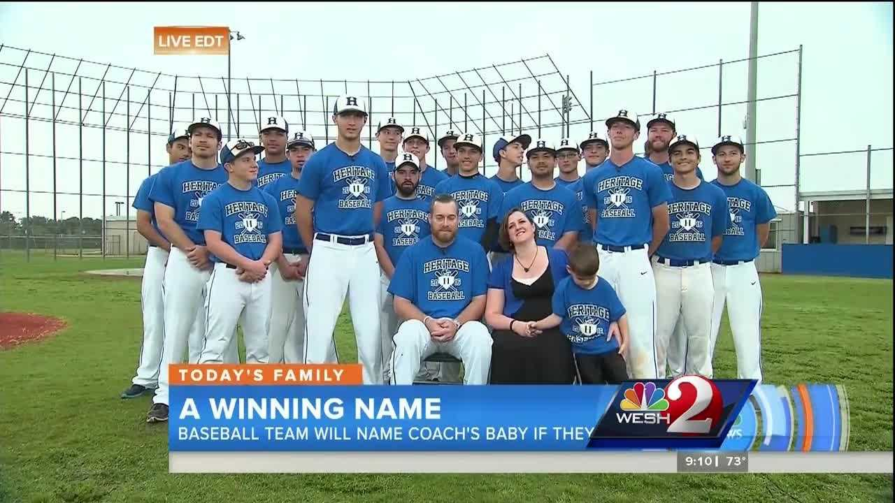 The stakes couldn't be higher for a high school baseball team in Palm Bay. If they win their next game, they get to name their coach's baby.