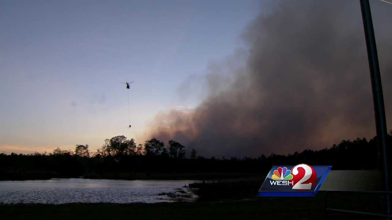 A large brush fire that began in DeLeon Springs is now 75 percent contained, according to officials. Road closures remain in place. Chris Hush has the latest details.
