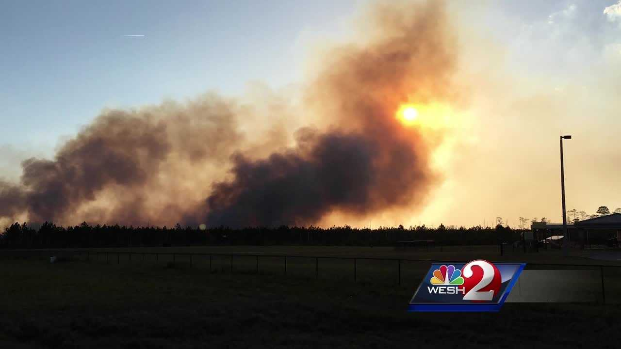 Several brush fires broke out over the weekend. One fire forced an Orange County family to evacuate. Another fire burned 110 acres in Daytona Beach. As Claire Metz reports, a brush fire is still burning near a local school.