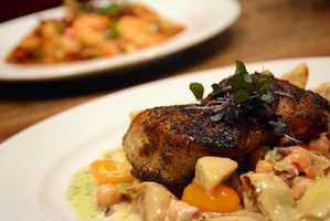 Grouper with chickpea salad, sauteed artichokes, heirloom cherry tomatoes and lemon-caper sauce