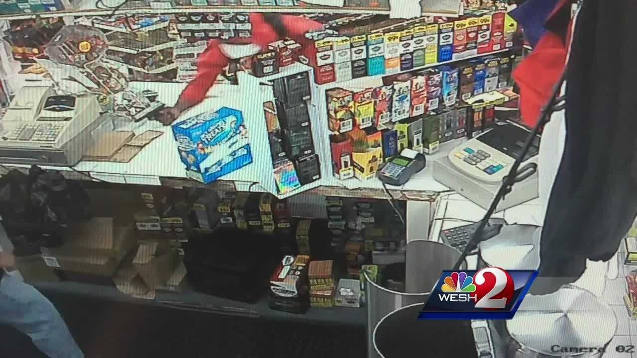 A convenience store worker was shot to death in Ocala. Surveillance video shows the suspect jumping over the counter, seconds before killing the cashier. Matt Grant (@MattGrantWESH) has the latest details.