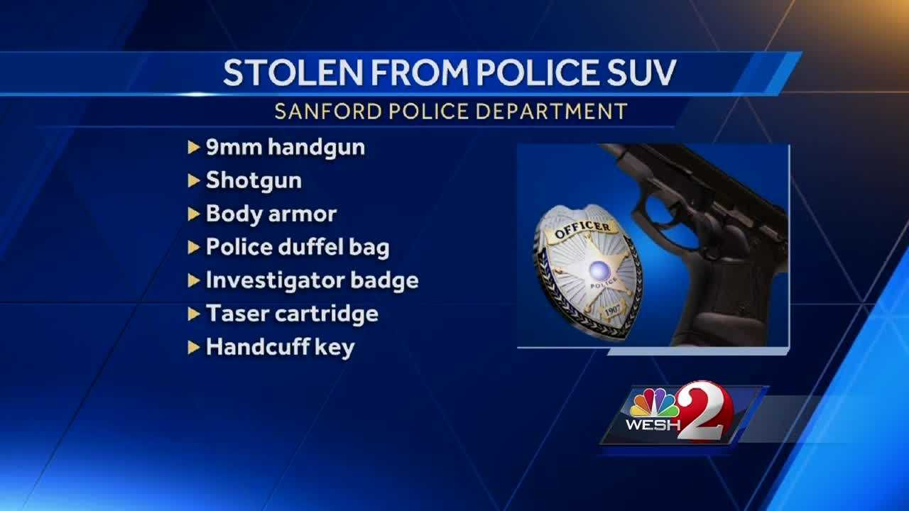 A reward of up to $1,000 is being offered for information leading to the arrest of those responsible for stealing a number of items from a Sanford police officer's unmarked car over the weekend. Dave McDaniel (@WESHMcDaniel) has the story.
