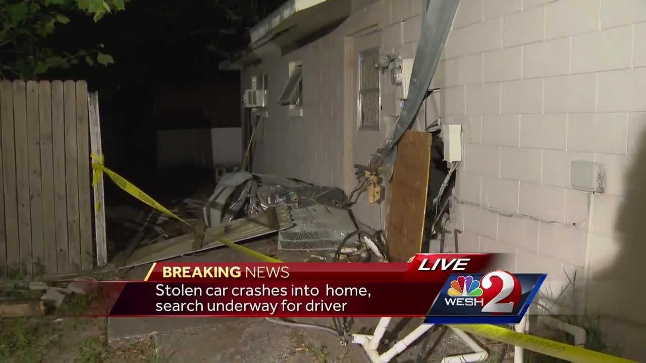 A stolen vehicle struck a home Wednesday night in Orange County, according to the Florida Highway Patrol. Summer Knowles reports.