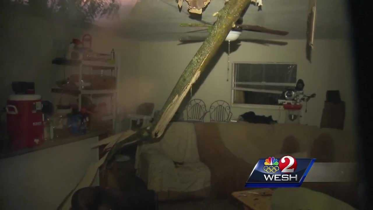 Severe storms Sunday evening knocked a tree through the roof of a family's home in Pine Hills.