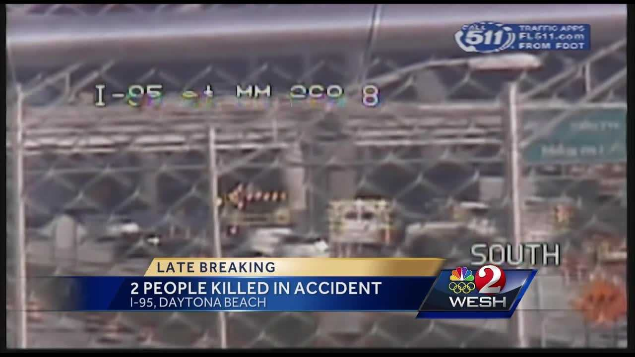 The Florida Highway Patrol said two people died in a two-truck accident in a construction zone on I-95 in Volusia County. Angela Taylor reports.